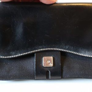 Fendi Bags - FENDI BLACK LEATHER TEXTILE HAND SHOULDER BAG *